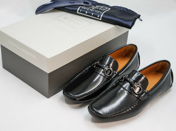 Roberto Serpentini Black Leather Loafer 1053
