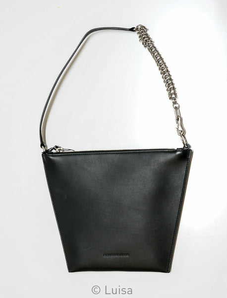 Alexander Wang Black Flat Chainmail Leather Bag 7048P