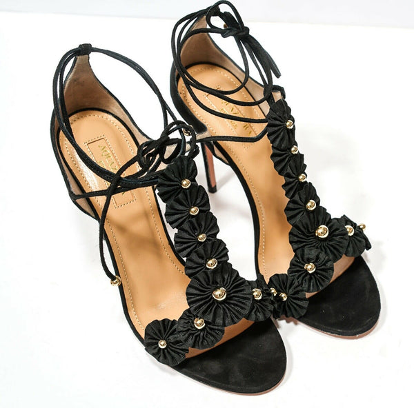 Aquazzura Ladies Black Suede Sandal Exotic Sandal 105