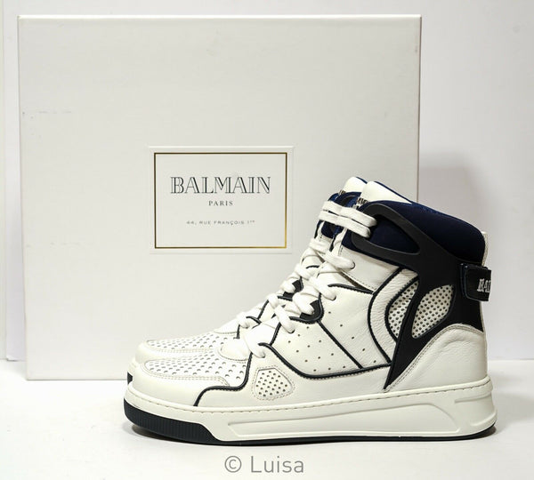 Balmain Men's White & Blue Hi Top Sneakers RM0C03