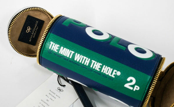 Anya Hindmarch Polo Mints in Emerald Leather Clutch