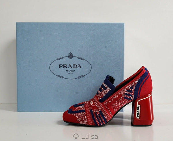 Prada Women's Scarlet & Navy Knit Pump 1D194L