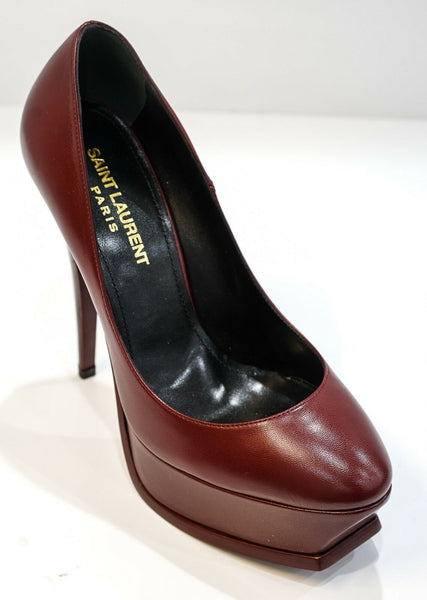 Saint Laurent Burgundy Platform Shoe 492943