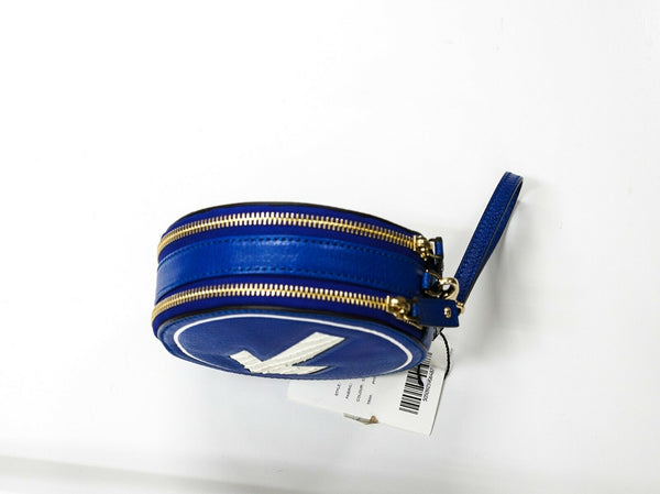 Anya Hindmarch Hadlow Arrow Clutch Electric Blue Leather & Python Skin