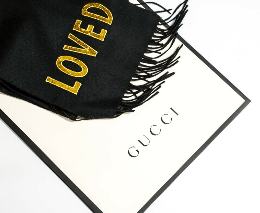 Gucci Black Cashmere and Silk LOVED Scarf