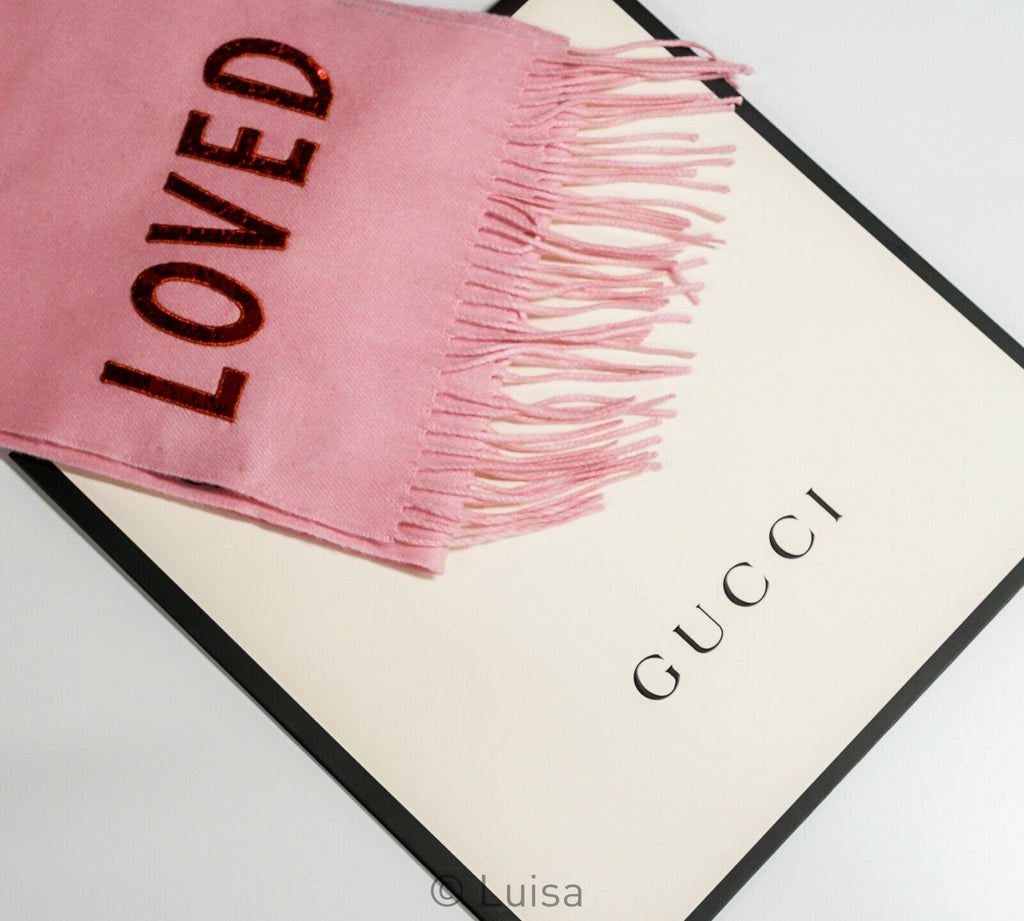 Gucci Pink Silk and Cashmere LOVED Scarf