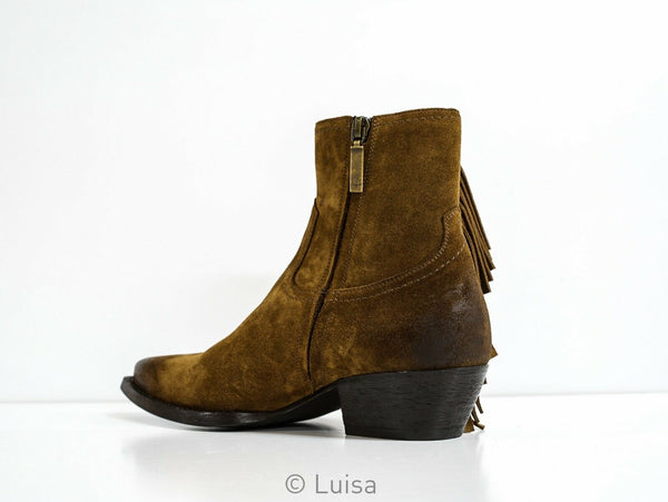 Saint Laurent Brown Suede Lukas Boot 565591