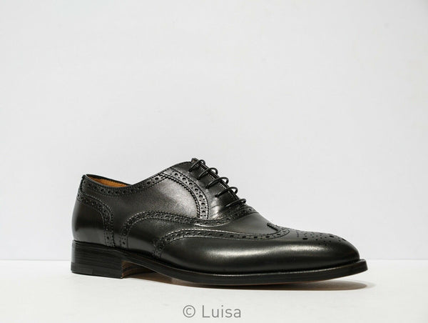 Moreschi Men's Black Detail Leather Lace Up 037096