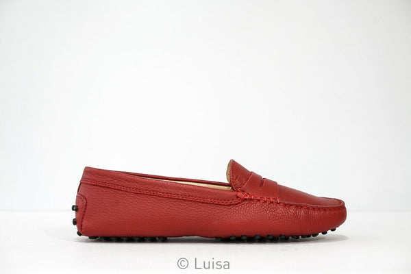 Tod's Women's Red Leather Moccasin G0001