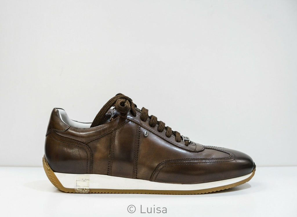 Roberto Serpentini Marrone Leather Sneaker 56400