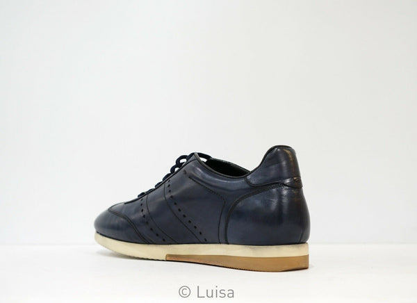 Roberto Serpentini Blue Lace Up Leather Sneaker 48311
