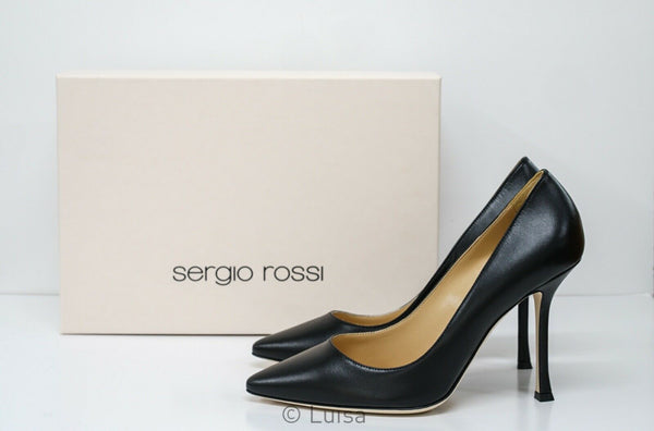 Sergio Rossi Black Leather Pump A31101