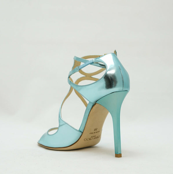 Jimmy Choo Ladies Blue Mirror Sandal LANG