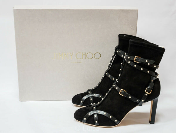 Jimmy Choo Ladies Black Suede & Pearl Ankle Boot Brianna 85