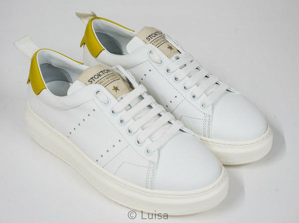 Stokton White & Yellow Leather Sneaker Bubka