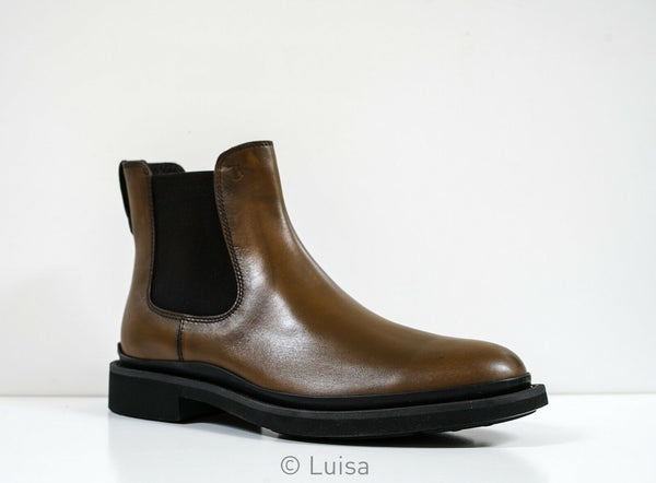 Tod's Men's Brown Leather Ankle Boot Beatle Progetto Urban XXM89B0CD5