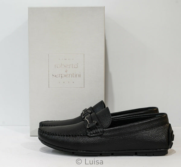 Roberto Serpentini Black Leather Loafer M544