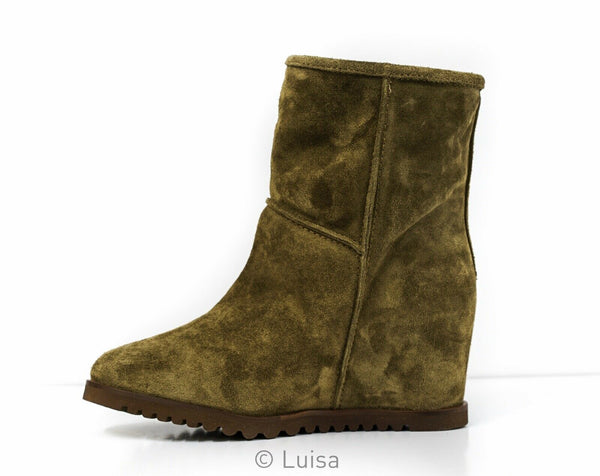 Fabio Rusconi Women's Taupe Suede Wedge Ankle Boot F-1637
