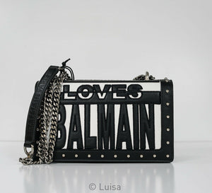 Balmain Black & White Loves Balmain Leather Handbag SFS122M