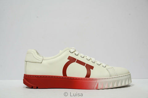 Salvatore Ferragamo Men's White & Red Leather Sneakers Cube