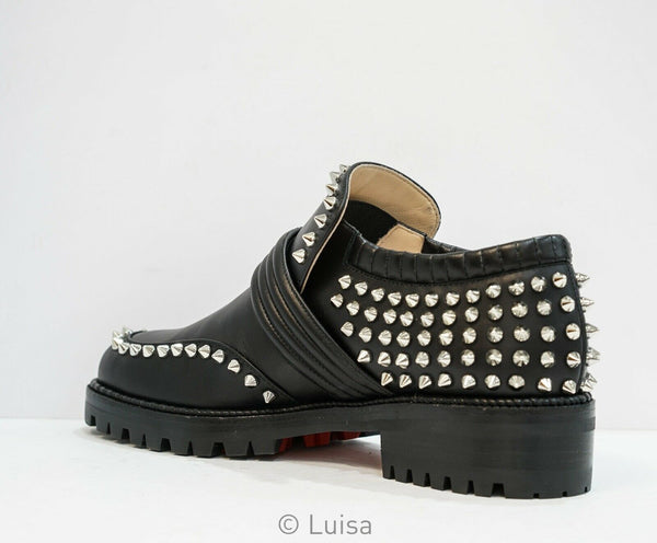 Christian Louboutin Ladies Black & Silver Stud Shoes Madame Mix Flat