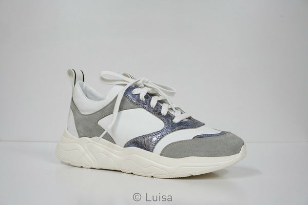 Stokton White & Grey Leather Sneaker 33-D