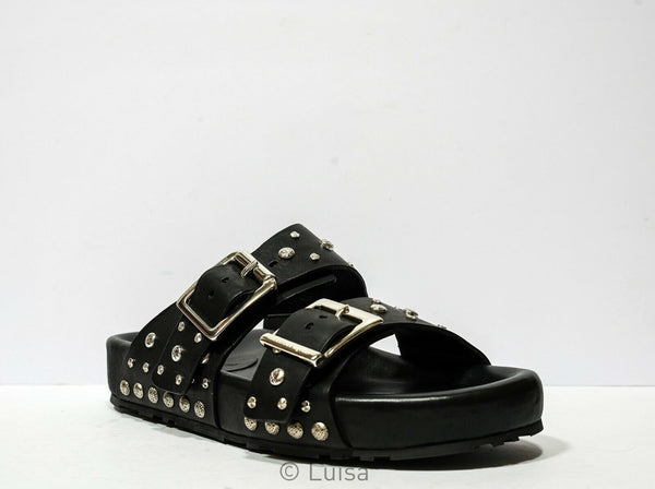 Alexander McQueen Men's Black Studded Sandals 506777