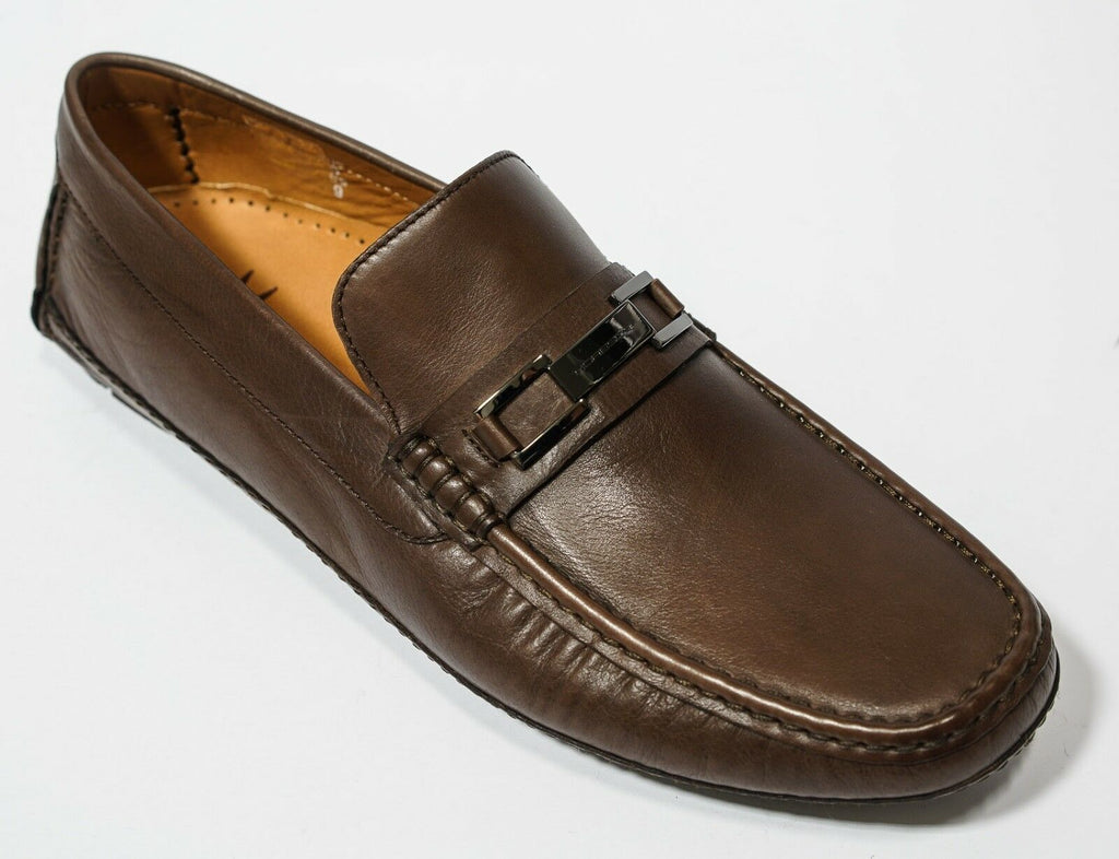 Moreschi Men/'s Black Leather Buckle Moccasin 040665 New in Box