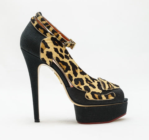 Charlotte Olympia Leopardess in Black & Leopard Sandals