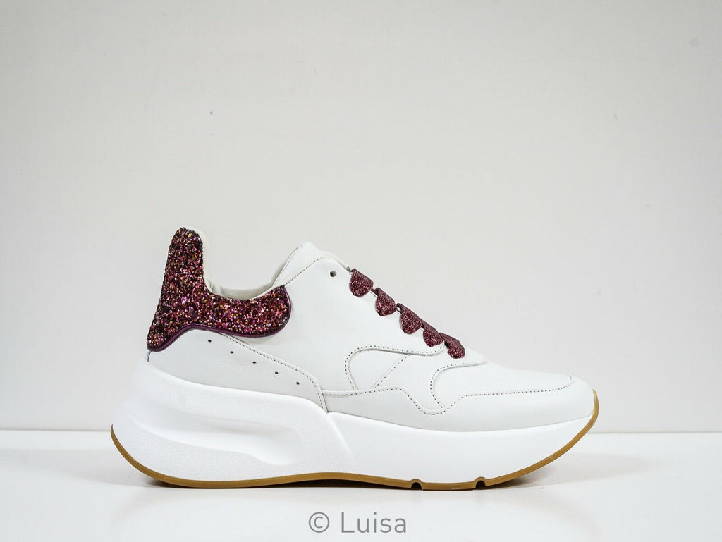 Alexander McQueen White & Pink Glitter Sneakers 586413