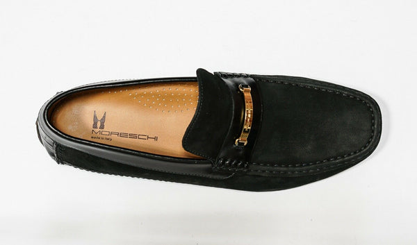 Moreschi Men's Black & Gold Suede Moccasin 039520