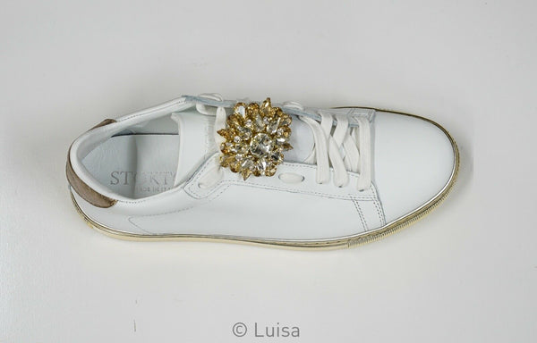 Stokton White Leather Jewel Sneaker 655-D