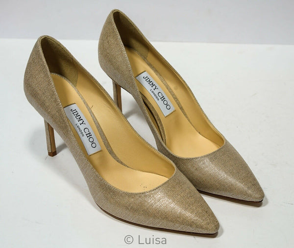 Jimmy Choo Women's Natural & Silver Pump ROMY 85