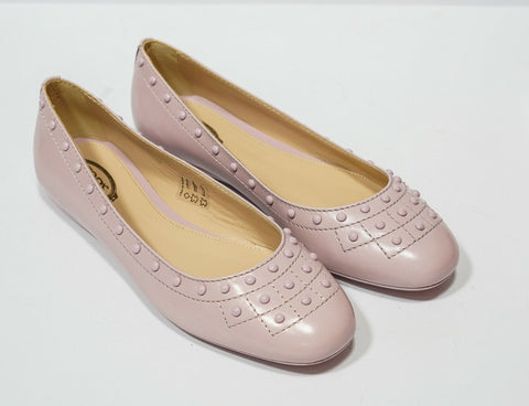 Tod's Women's Pink Leather Stud Ballerina AOY311