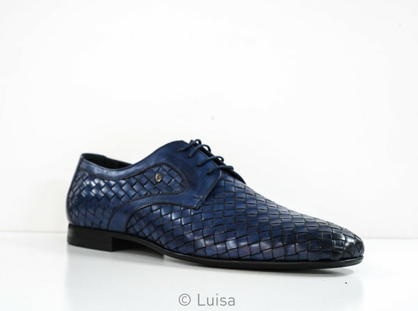 Roberto Serpentini Blue Leather Weave Lace Up Shoe 27422