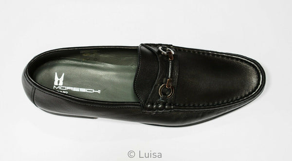 Moreschi Men's Black Leather Moccasin 042655