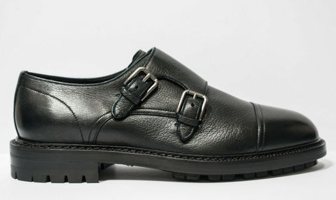 Dolce & Gabbana Men's Black 2 Buckle Shoe A10223 Last Size 40.5EU