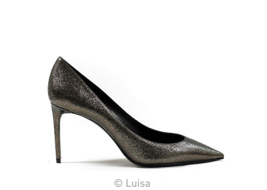 Saint Laurent Leather Black Metal ZOE 85 Pump 529731
