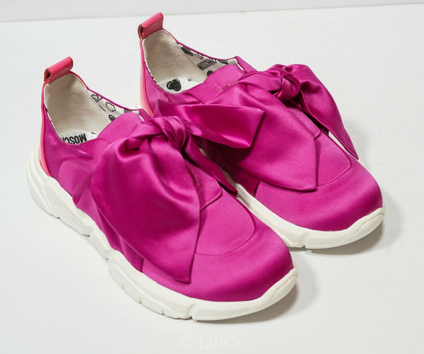 Love Moschino Ladies Fuchsia Bow Slip On JA15193G17