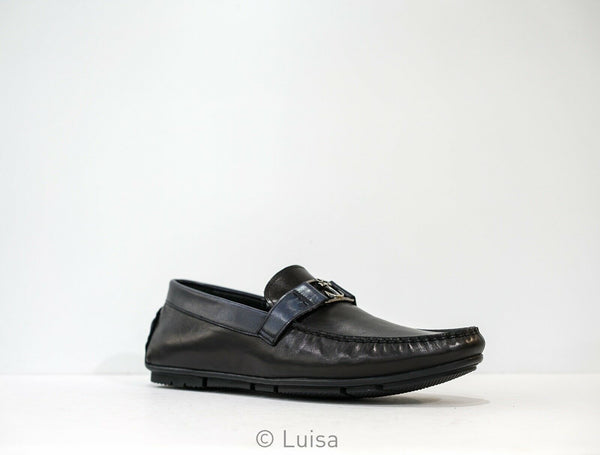 Roberto Serpentini Black & Navy Leather Loafer M-45 Size 42