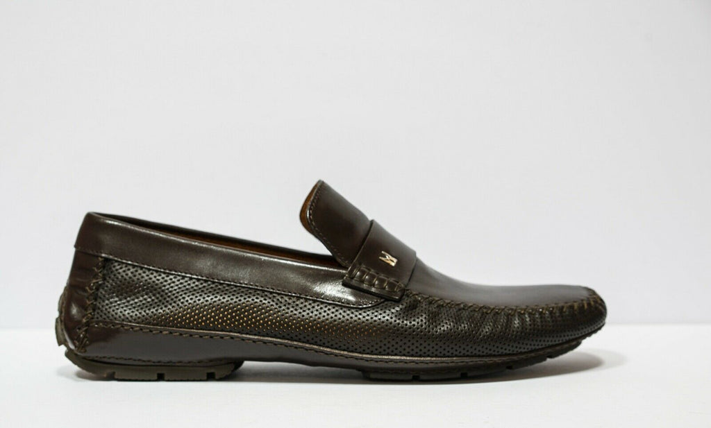 Moreschi Men's Marrone Perforated Leather Moccasin 040040
