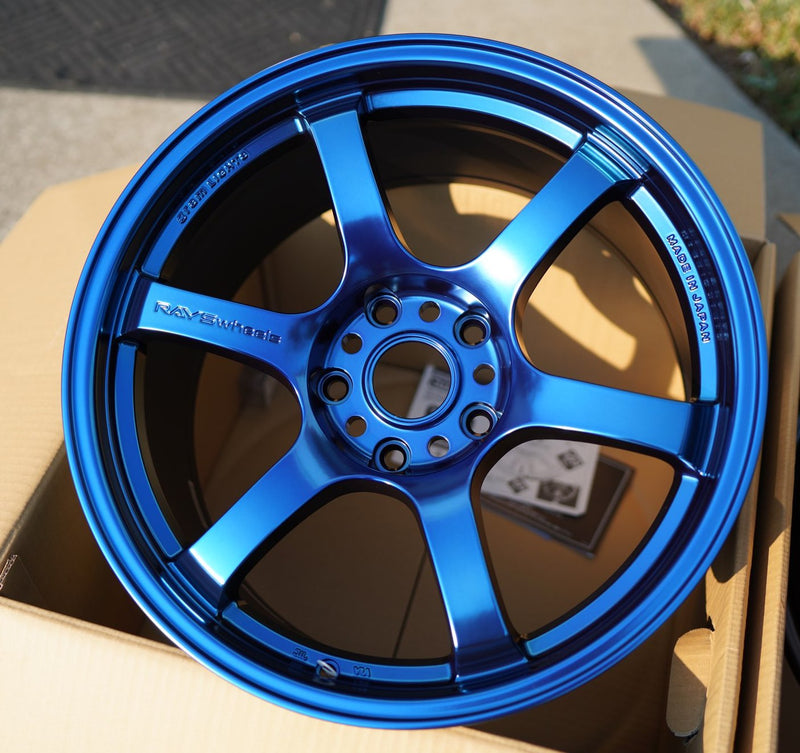 Gram Lights 57DR 18x9.5 +38 5x120 Wheel in Spatta Blue for 17+ Civic Type R
