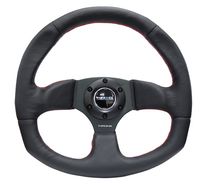 NRG Flat Bottom Leather Steering Wheel w. Red Stitch