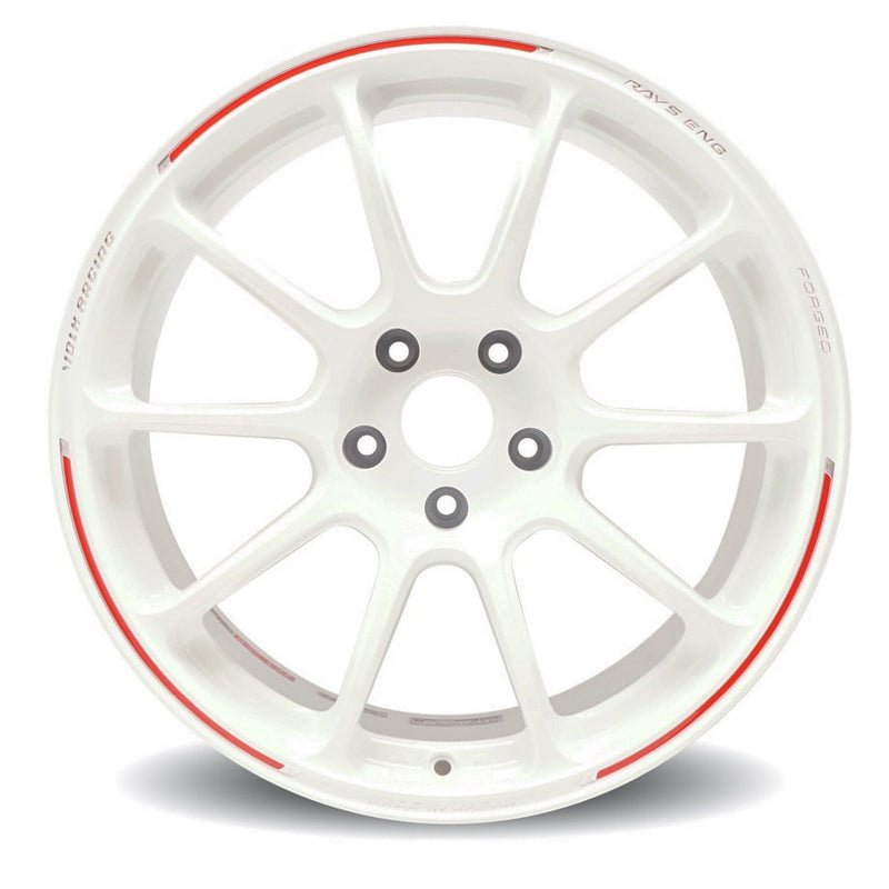 Volk Racing ZE40 RW Limited Edition 18x9.5 +46 5x120 Wheel in Dash White/ REDOT | 17+ Civic Type R