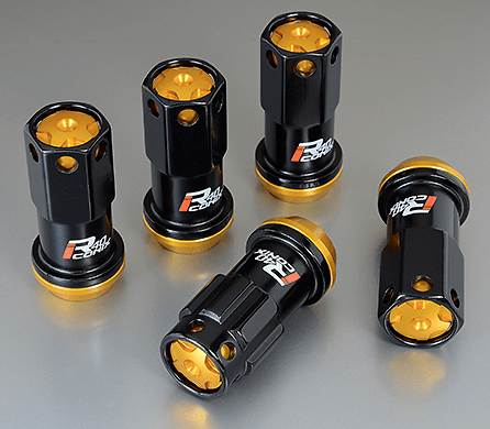 Kics R40 iCONIX M14 Lug Nuts & Locks - 14x1.5 in Black w. Gold Cap