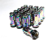 Project Kics R40 iConix NeoChrome Lug Nuts w/ Locks - 12X1.25 - Black Plastic Caps