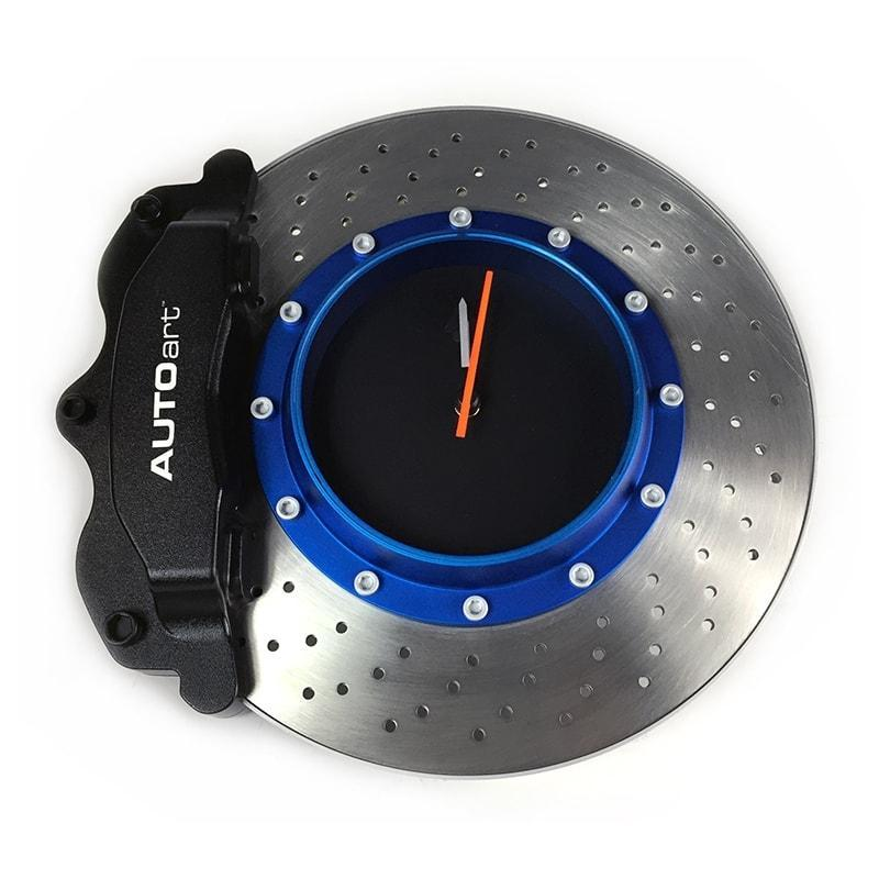 AUTOart Brake Assembly Wall Clock with Black Caliper Blue Rotor