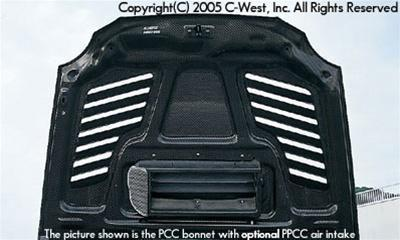 C-West Super Aero Bonnet With Louver (Zenki) FRP WRX GDA 02-03
