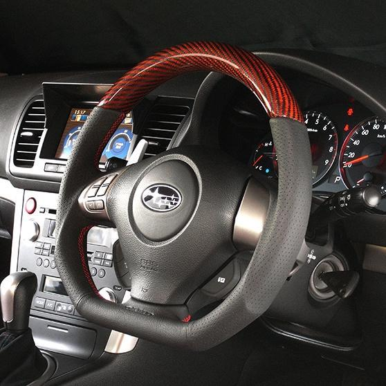 DAMD D-Shape Red Carbon Steering Wheel w. Red Stitch - GH/ GE, GR/ GV, BP/ BL, SH Subarus