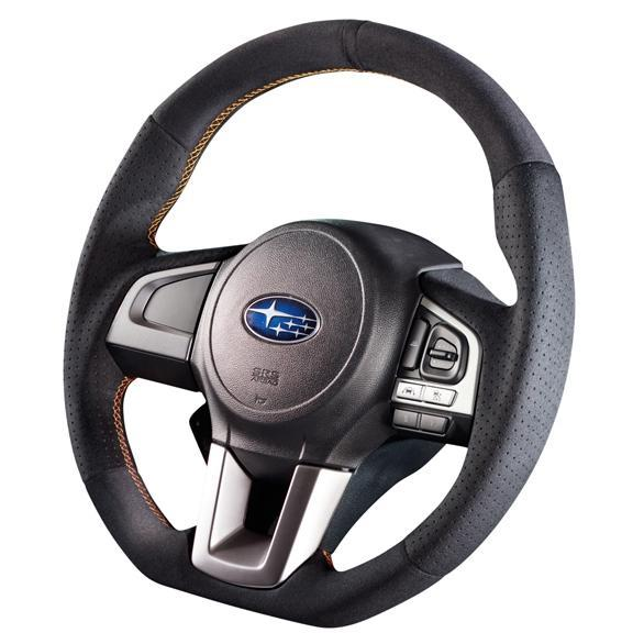 Damd Orange Stitch D-Shape Suede Steering Wheel - Legacy/ Outback, Forester, Crosstrek 2015+